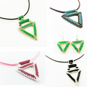 Geometric Triangle Pendant with Bail and Earrings Jewellery Kit with MIYUKI Delica Beads
